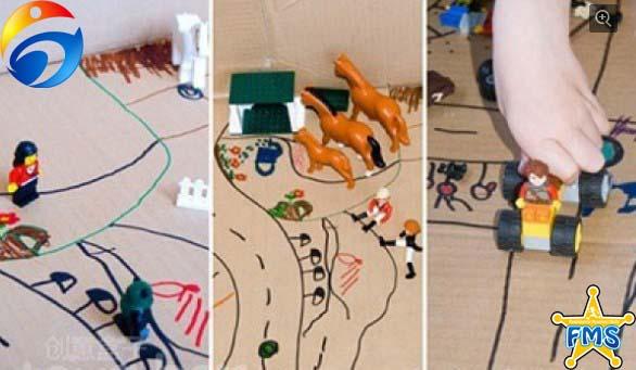 9, 游戏名称:大纸箱游乐场 自制器材:大纸箱,各种玩具 游戏场地:卧